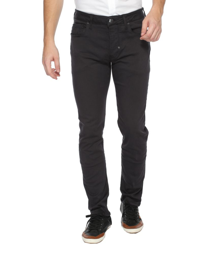883 Police Black Regular Fit Solid Jeans