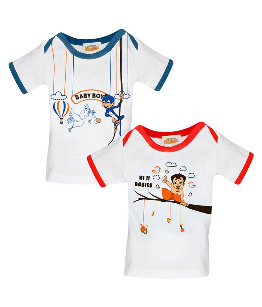 Chhota Bheem White Cotton T-Shirts - Pack of 2