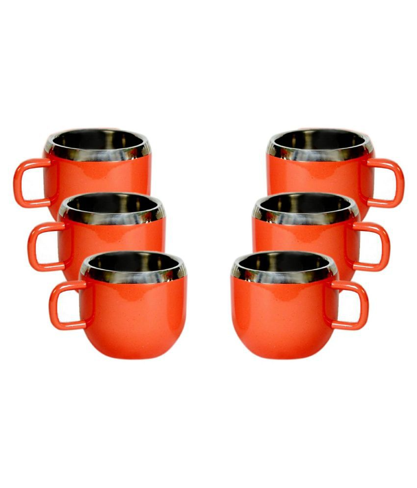 0aeed1a3c76 Dynore Double Walled Steel 80ml Tea Cups 6 Pcs, Red at Snapdeal at Lowest  Price at SasteSaude