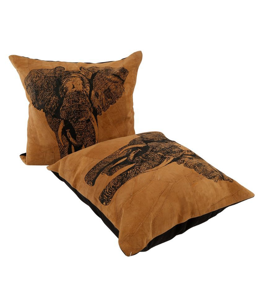 Rajrang Brown Faux Leather Cushion Cover - Set of 2