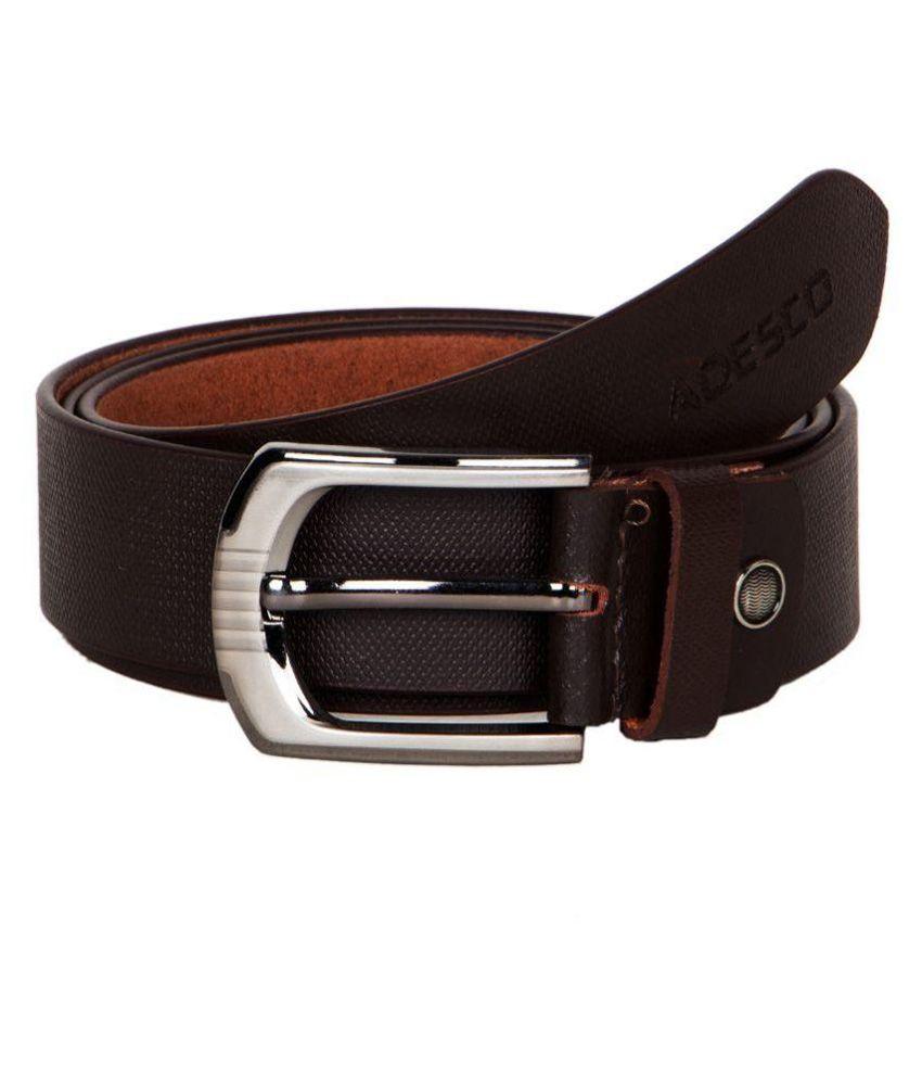 Adesco Brown Leather Belt for Men