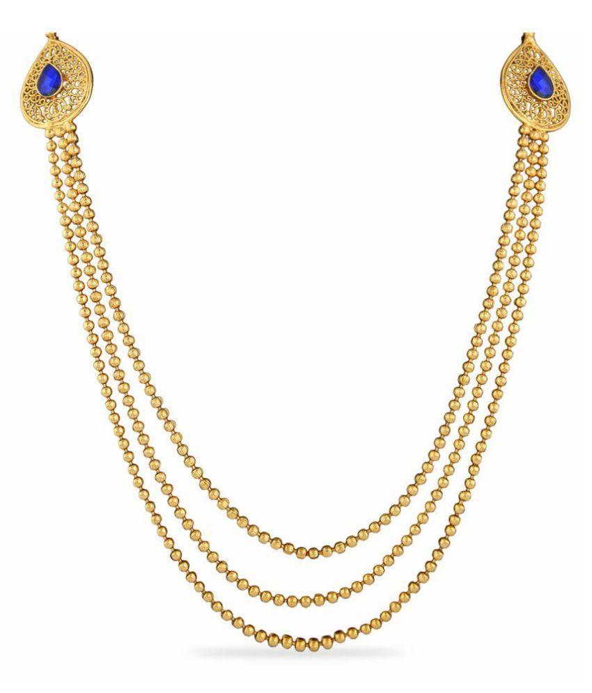 Adoreva Copper Gold Plating Polki Studded Blue Coloured Necklaces Set