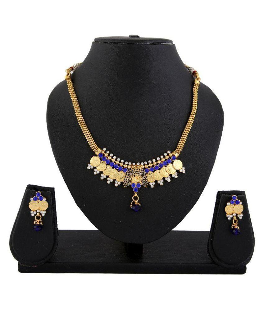 Adoreva Copper Gold Plating Stones Studded Multicolour Necklaces Set