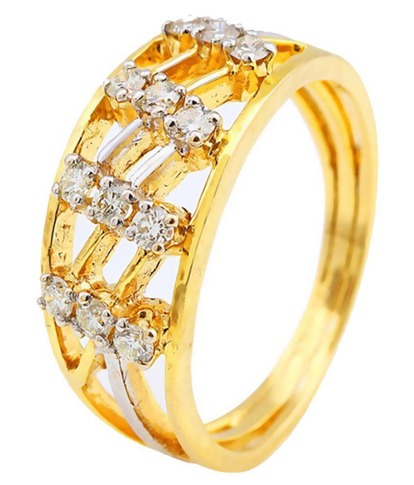 Jewels Choice 18 Kt Yellow Gold Diamond Studded Ring