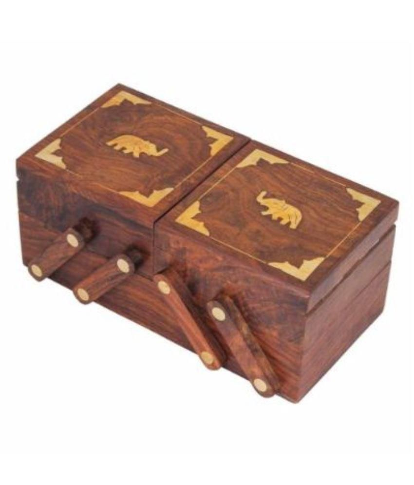 Kartique Wood Studded Brown Coloured Jewellery Box