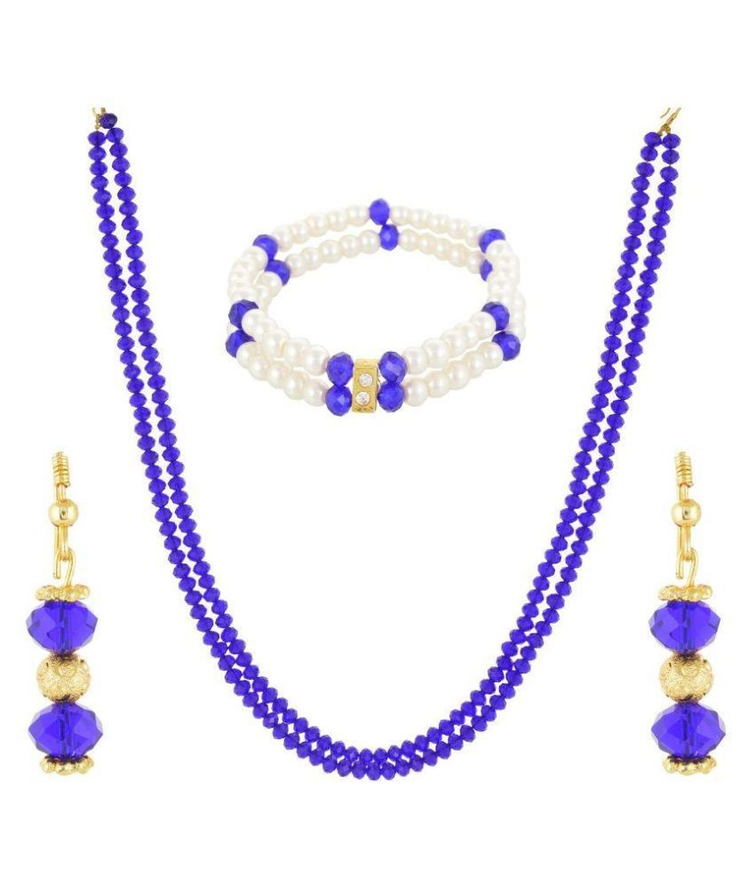 RK City Shopping Crystal Studded Blue Coloured Necklaces Set with Bracelet