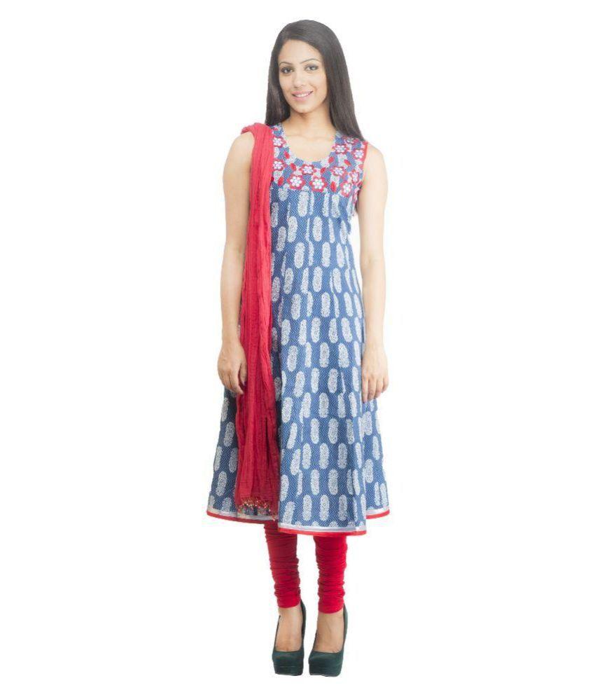 Rama Blue Cotton A-line Stitched Salwar Suit