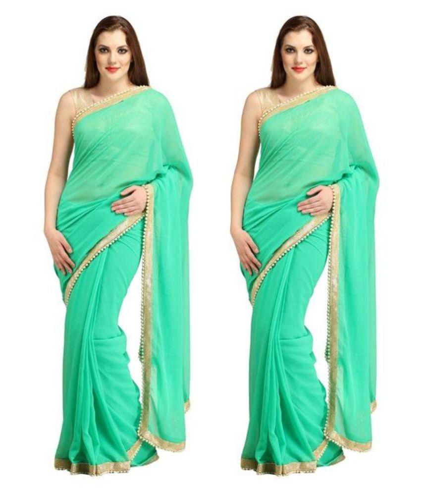 Sai Silk Mills Turquoise Cotton Saree Combos