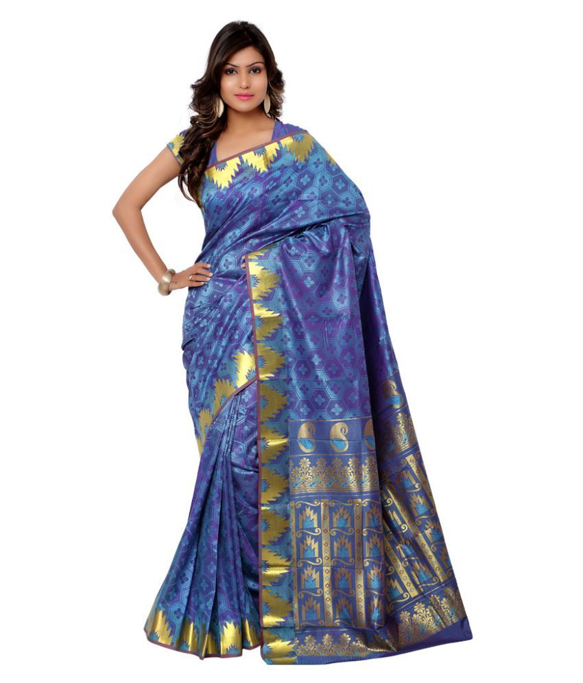 Varkala Silk Sarees Blue Art Silk Saree