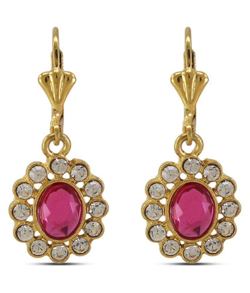 Diva Alloy Studded Pink Coloured Earrings