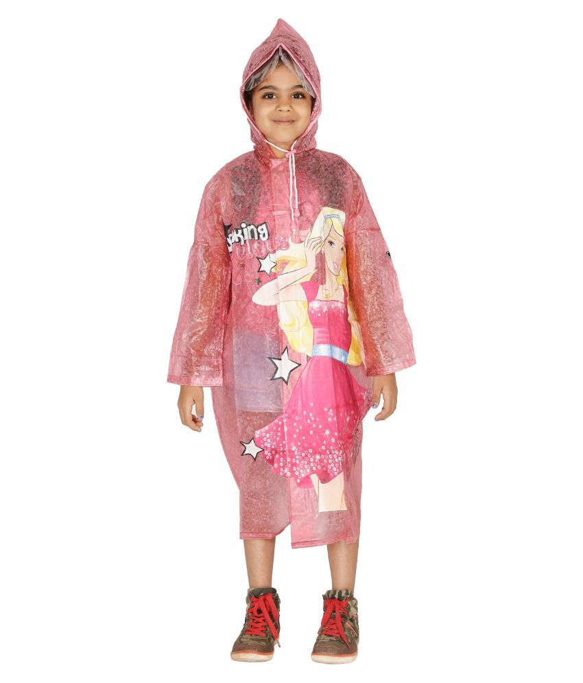Zeel Pink Viscose Rainwear for Girls