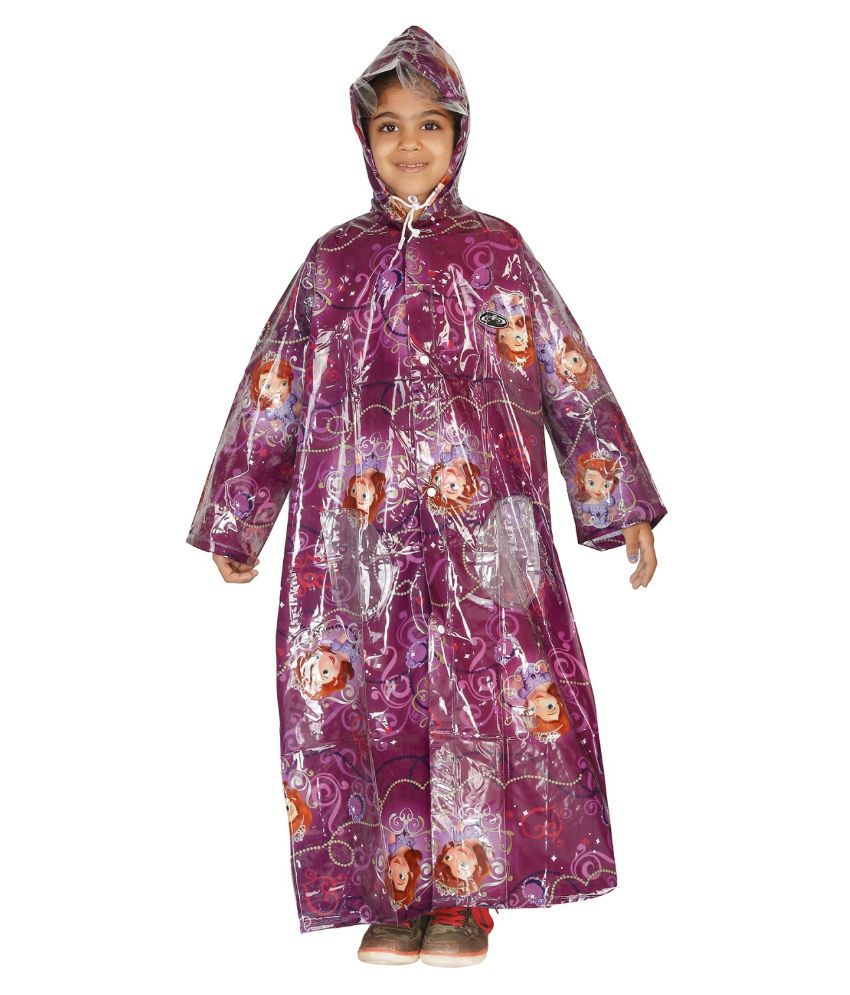 Zeel Purple Viscose Rainwear for Girls