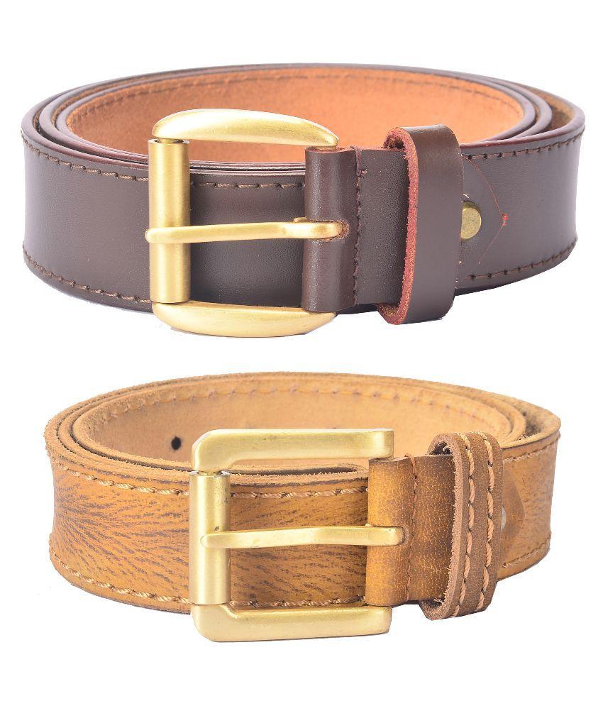 Hidelink Multicolor Leather Belt For Men - Pack Of 2