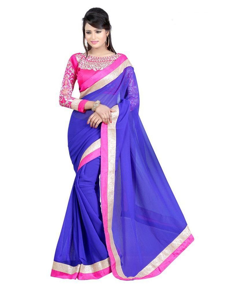Shop Integrity Blue Chiffon Saree