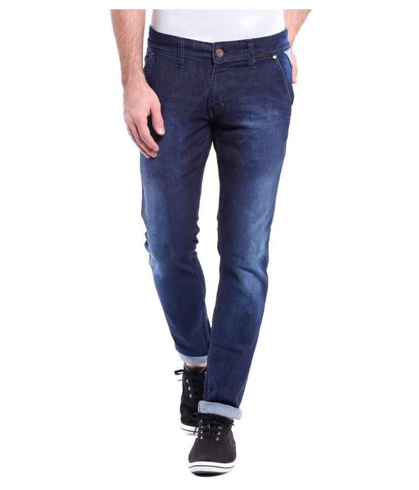 Urbano Fashion Blue Slim Fit Faded Jeans