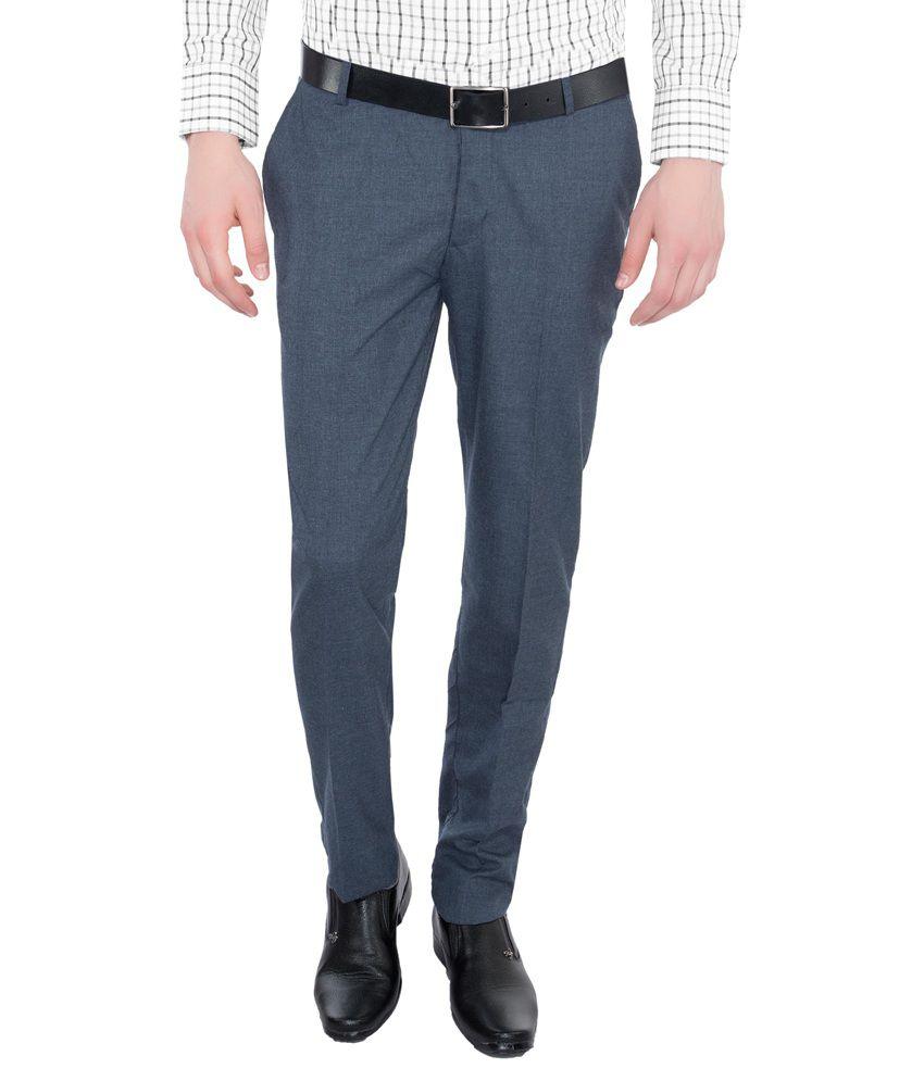 Vimal Blue Regular Fit Flat Trousers