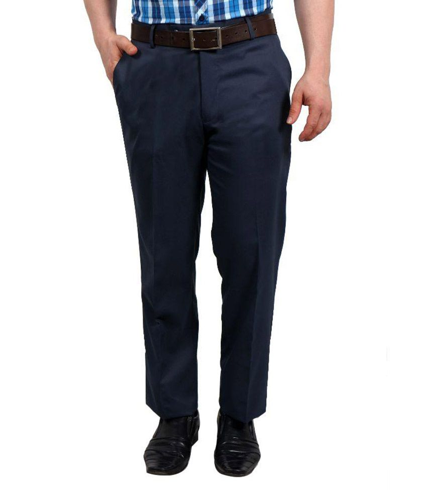 Solemio Navy Slim Fit Flat Trousers