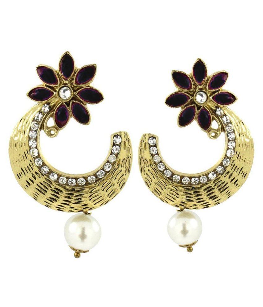 The Jewelbox Brass Gold Plating American Diamonds Studded Purple Colour Earrings