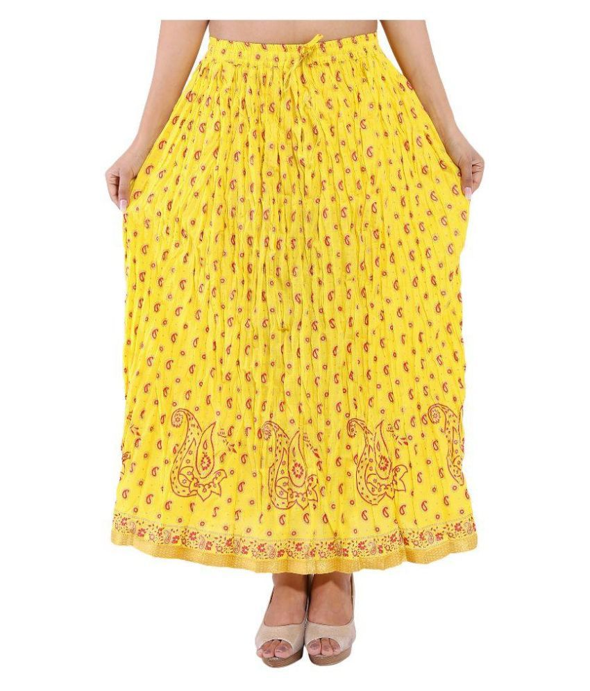 ee7ebe22e7aa Buy Magnus Yellow Cotton Maxi Skirt Online at Best Prices in India -  Snapdeal
