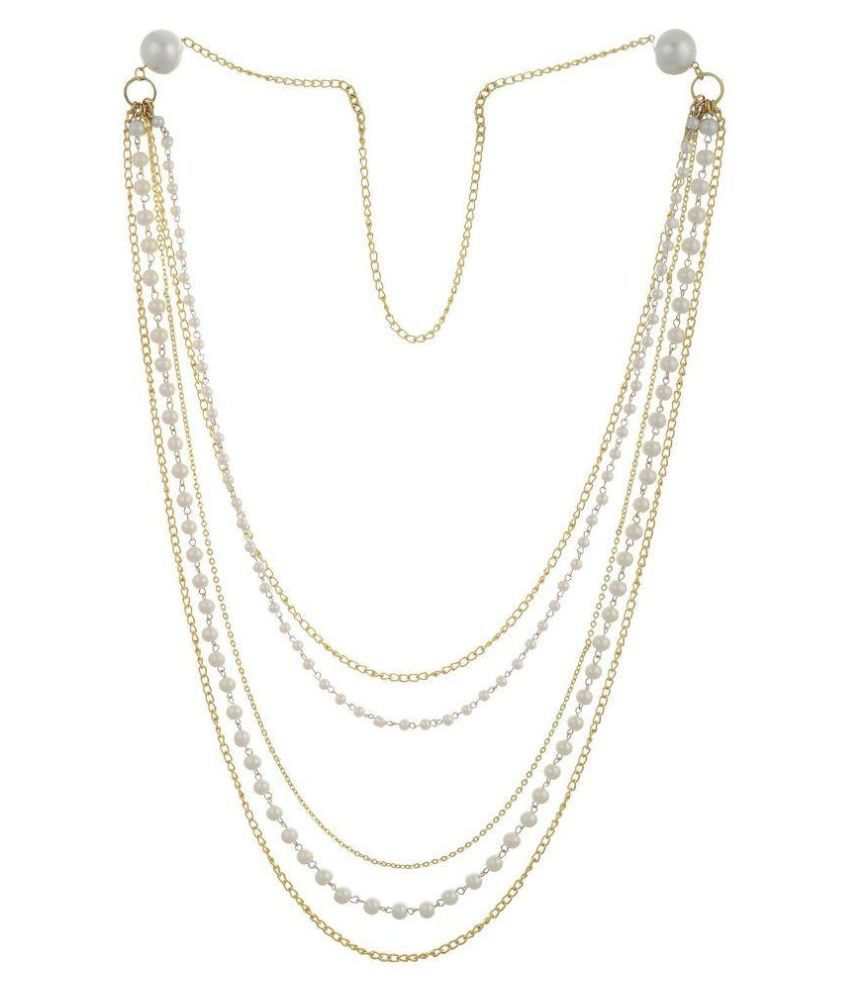 Sempre of London Alloy Gold Plating Pearls Studded Gold Coloured Necklace