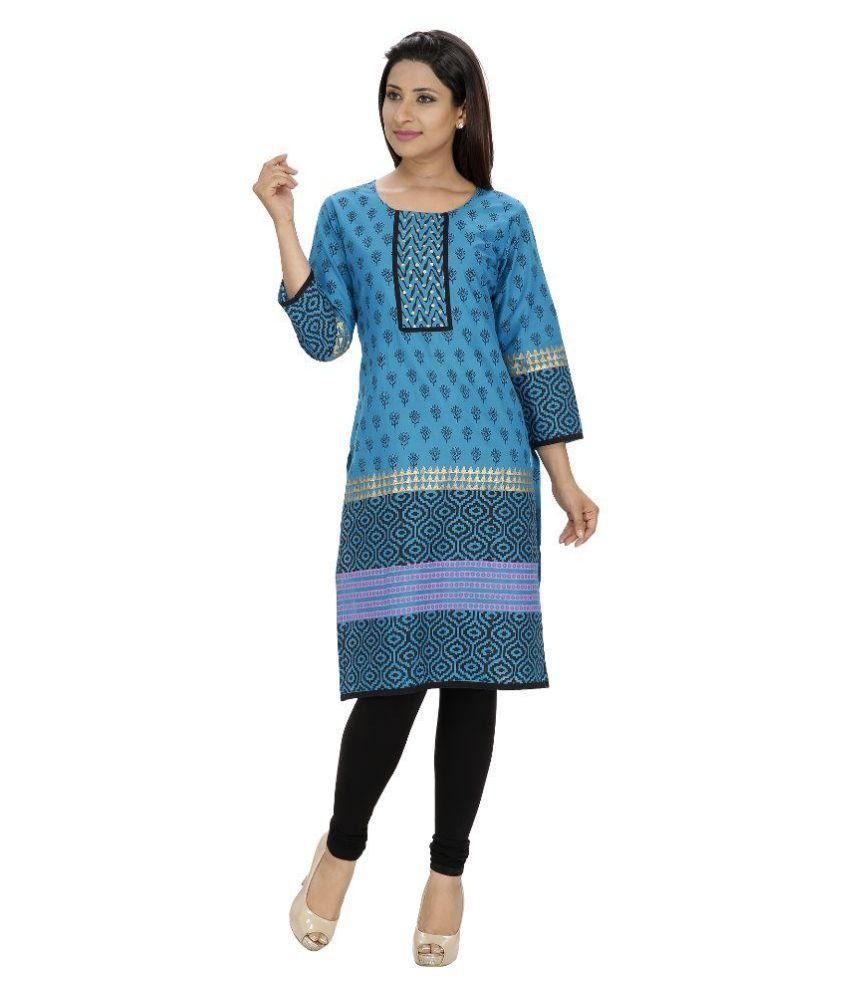 Tanvi Blue Cotton Straight Kurti