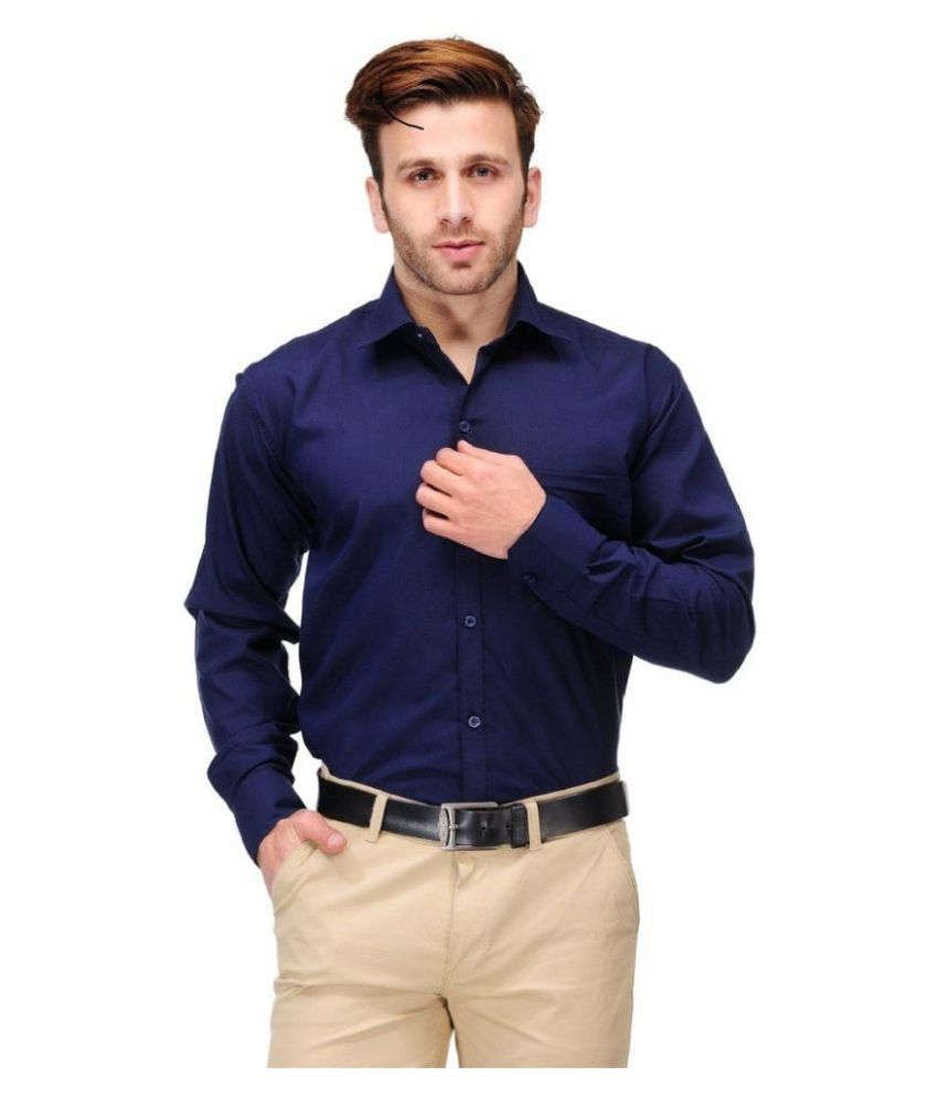Unique for men navy formal slim fit shirt buy unique for for Men slim fit shirts