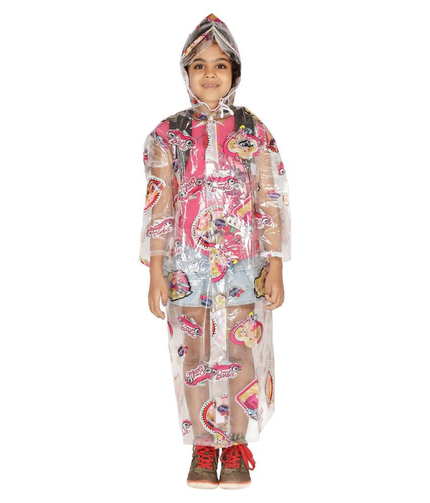 Zeel White Viscose Raincoat For Girls