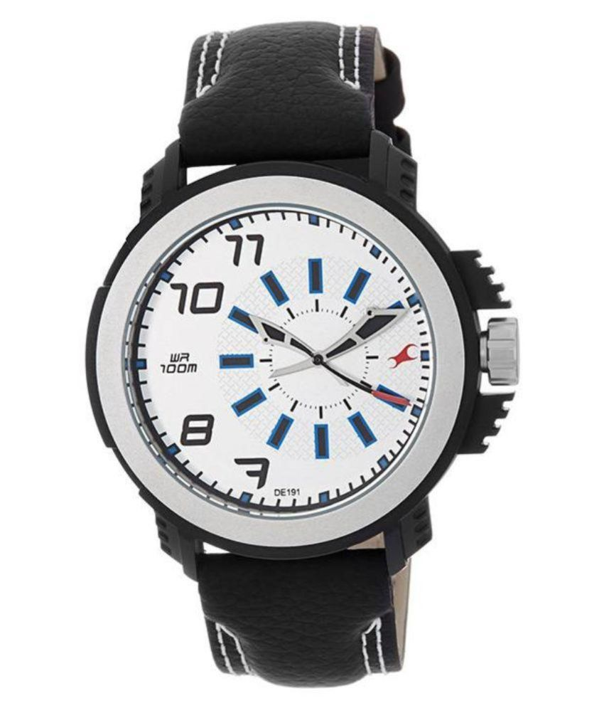 fastrack 38015pl01 black leather analog watch buy
