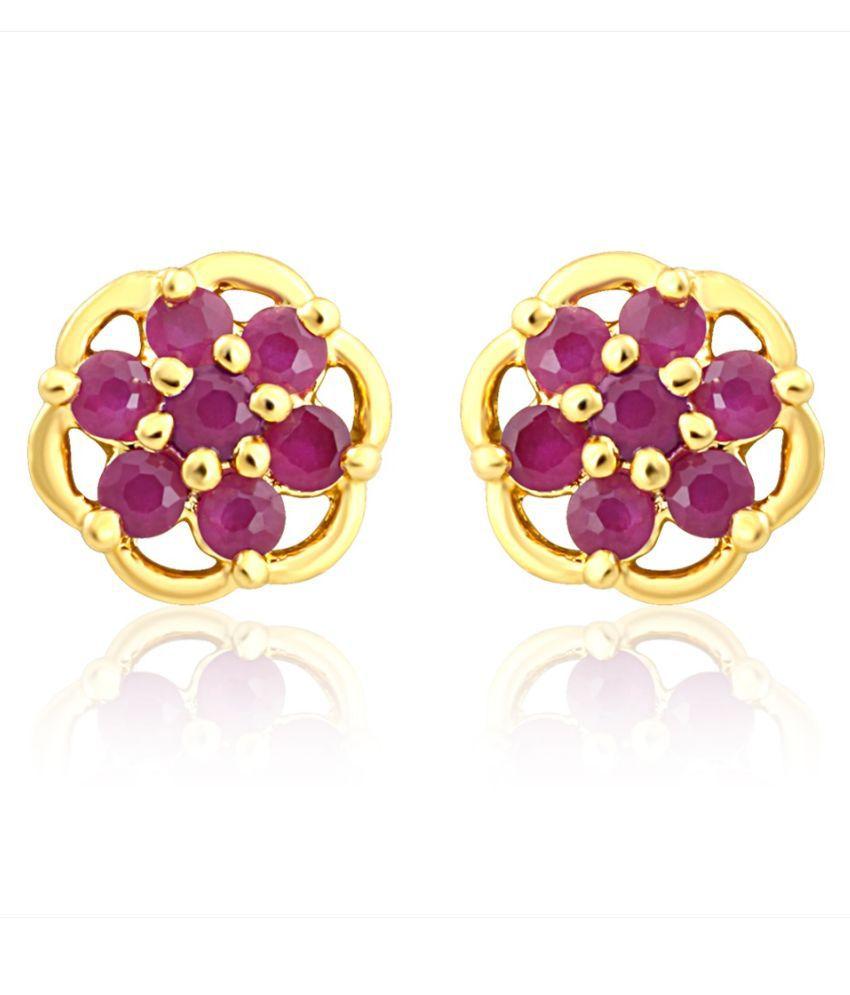 Mahi Brass Gold Plating Cubiz Zirconia Studded Golden Coloured Earrings