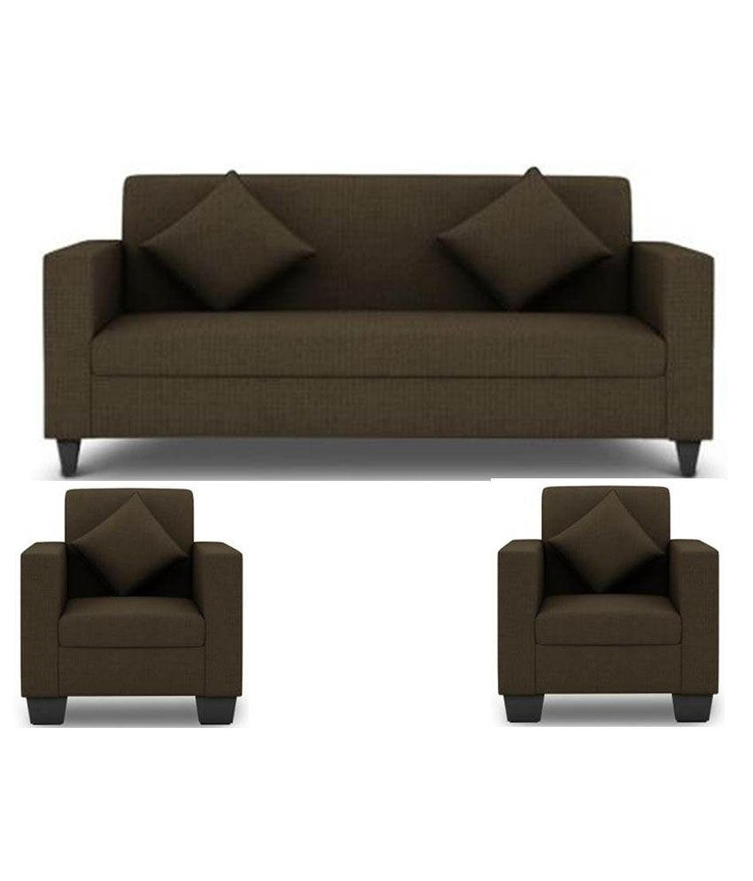 Furniture Sofas Online: Westido 5 Seater Sofa Set In Brown Upholstery With