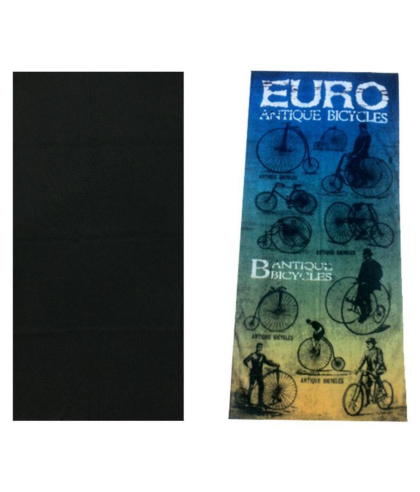 Atyourdoor Black Polyester Headwrap For Men - Set Of 2