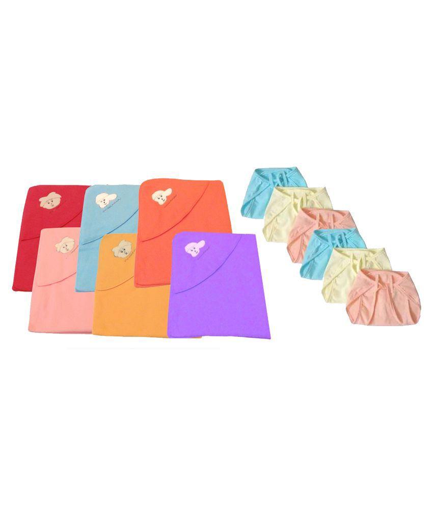 Big Bear Multi Color Baby Bedsheets With Hosiery Nappies - Set Of 12 Baby Blanket/Baby Swaddle/Baby Sleeping Bag