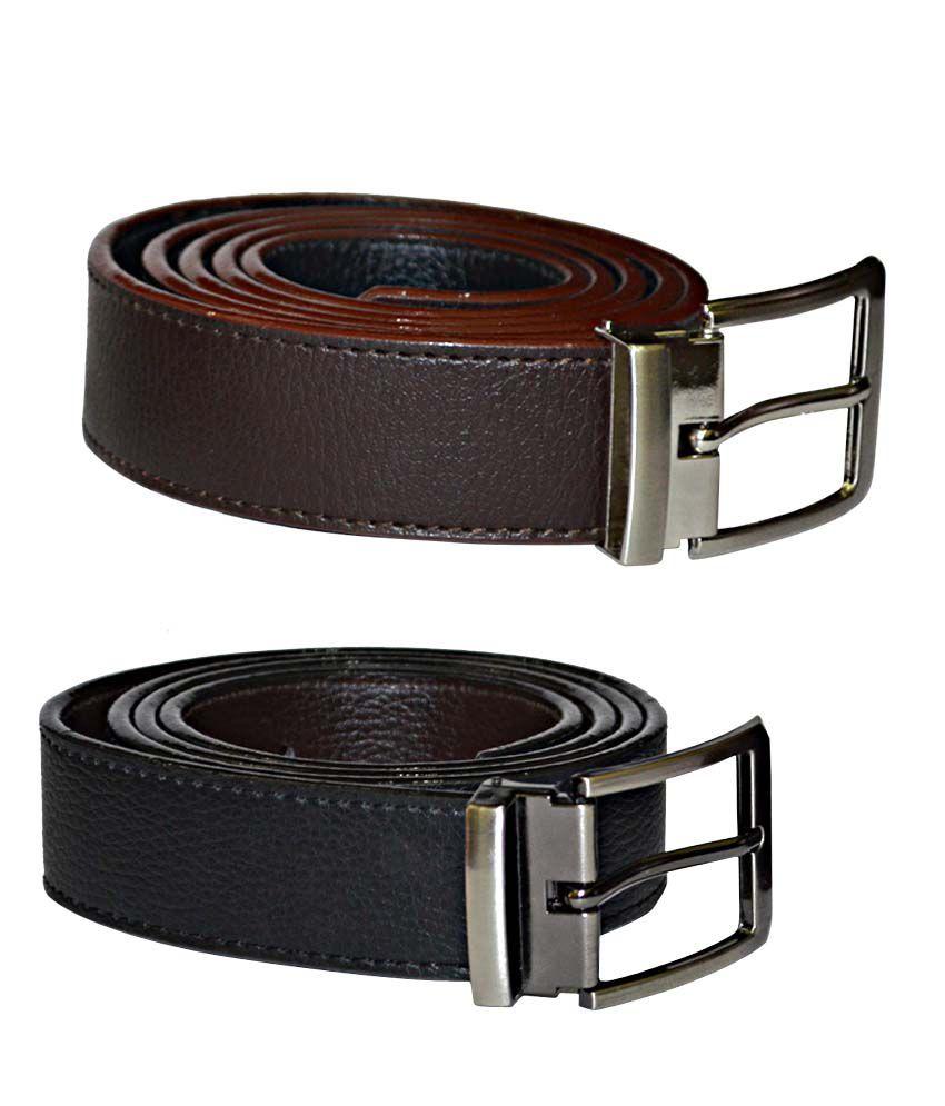 Kesari Brown and Black Belt for Men - Pack of 2