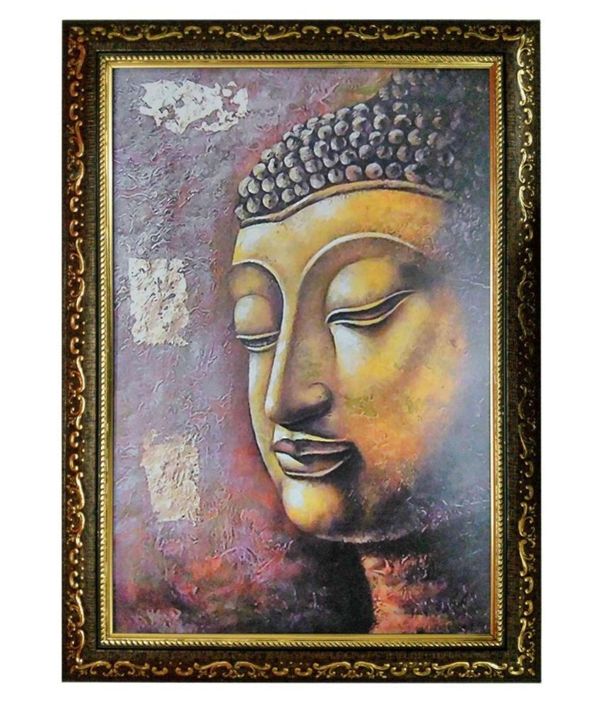 Trends on Wall Multicolour Acrylic Buddha Painting with Frame