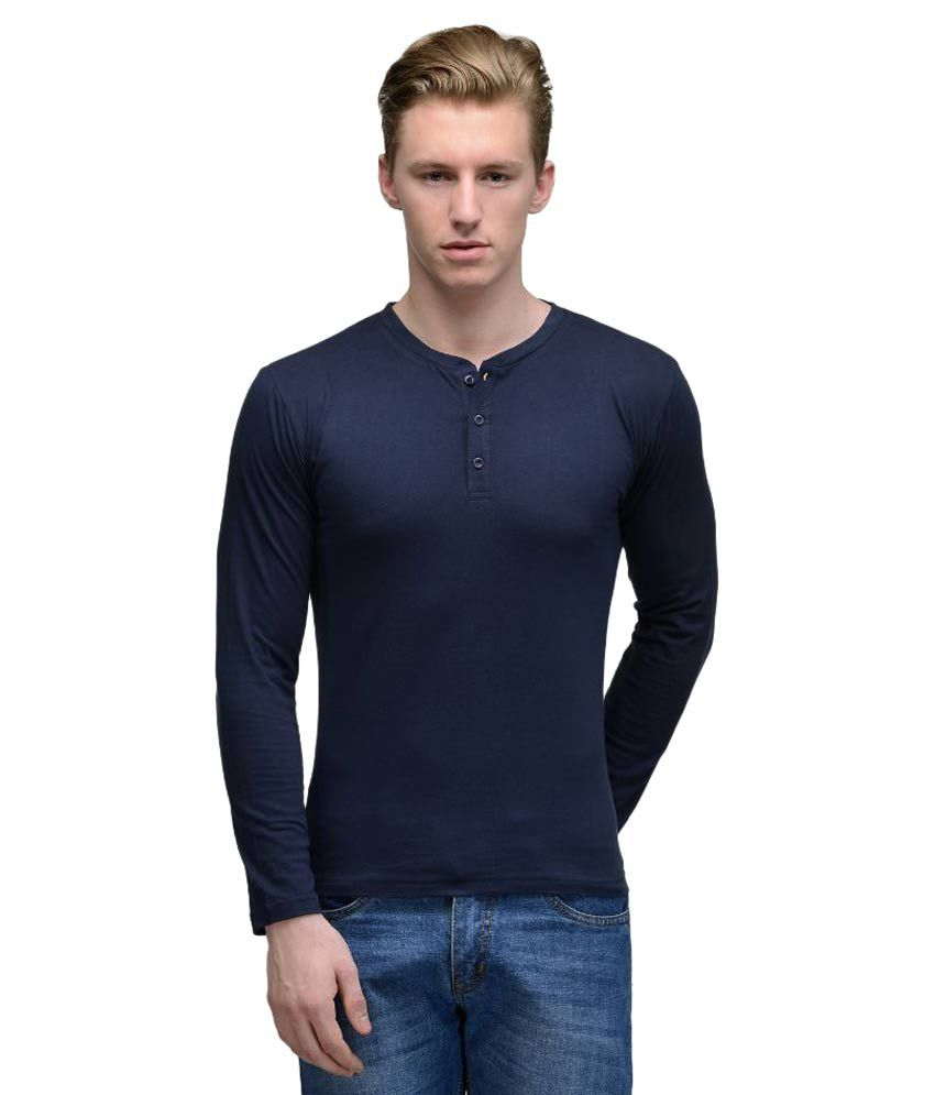 Feed Up Navy Henley T Shirt
