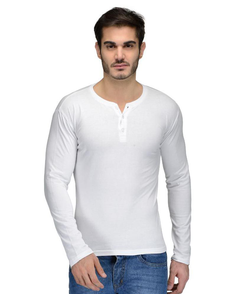 Feed Up White Henley T Shirt