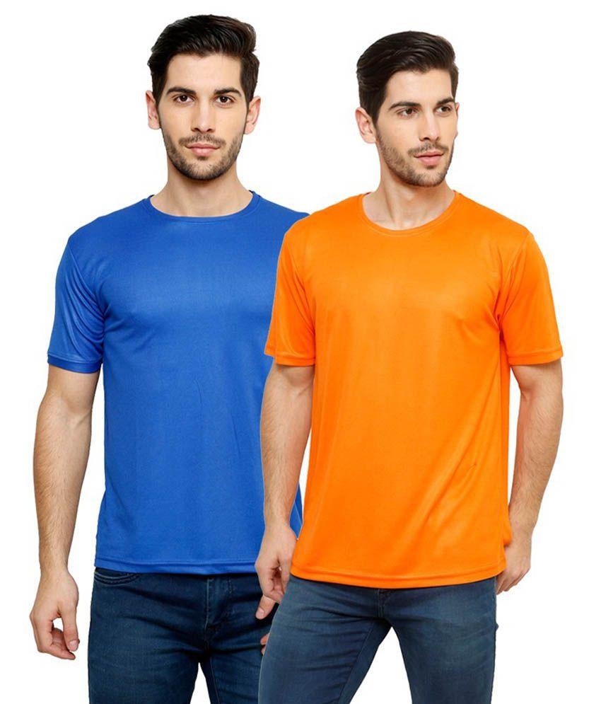 Grand Bear Dry-Fit Fitness T-Shirt Combo - Blue, Orange