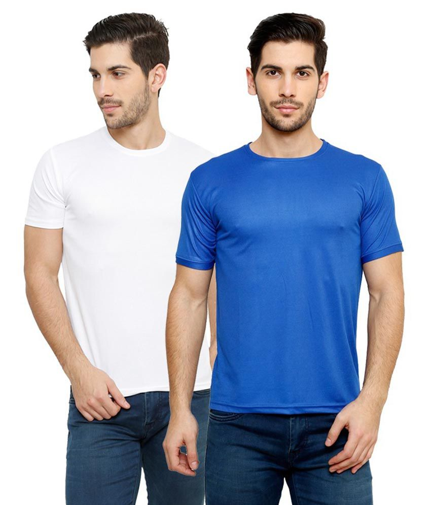 Grand Bear Dry-Fit Fitness T-Shirt Combo - White, Blue