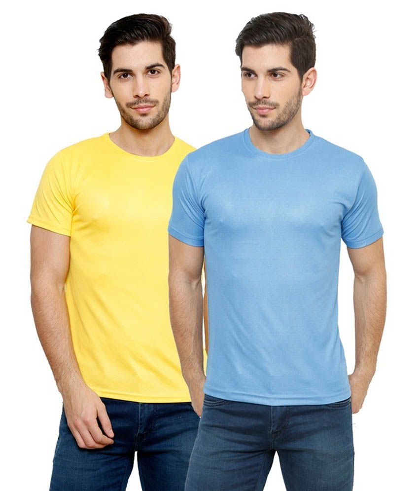 Grand Bear Dry-Fit Fitness T-Shirt Combo - Yellow, Sky