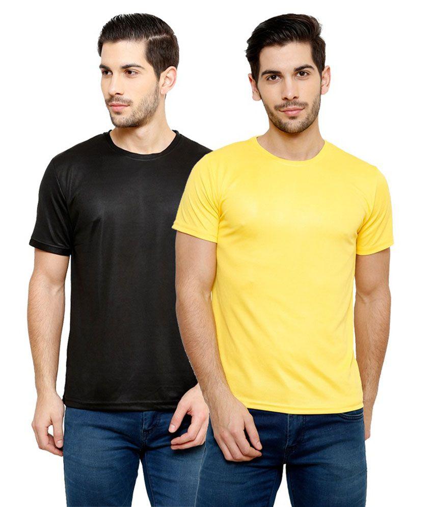Grand Bear Dry-Fit Fitness T-Shirt Combo - Black, Yellow