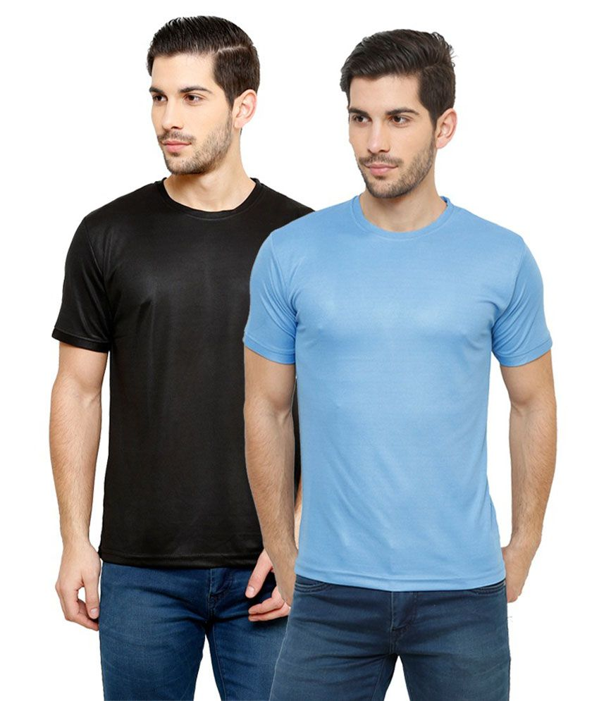 Grand Bear Dry-Fit Fitness T-Shirt Combo - Black, Sky
