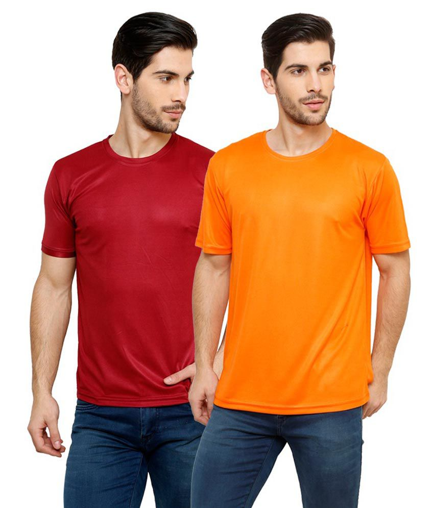 Grand Bear Dry-Fit Fitness T-Shirt Combo - Maroon, Orange