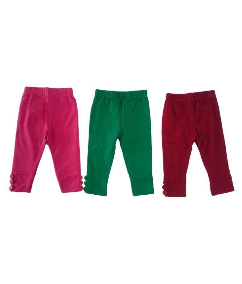 Pink&white Multicolour Cotton Capris - Pack of 3