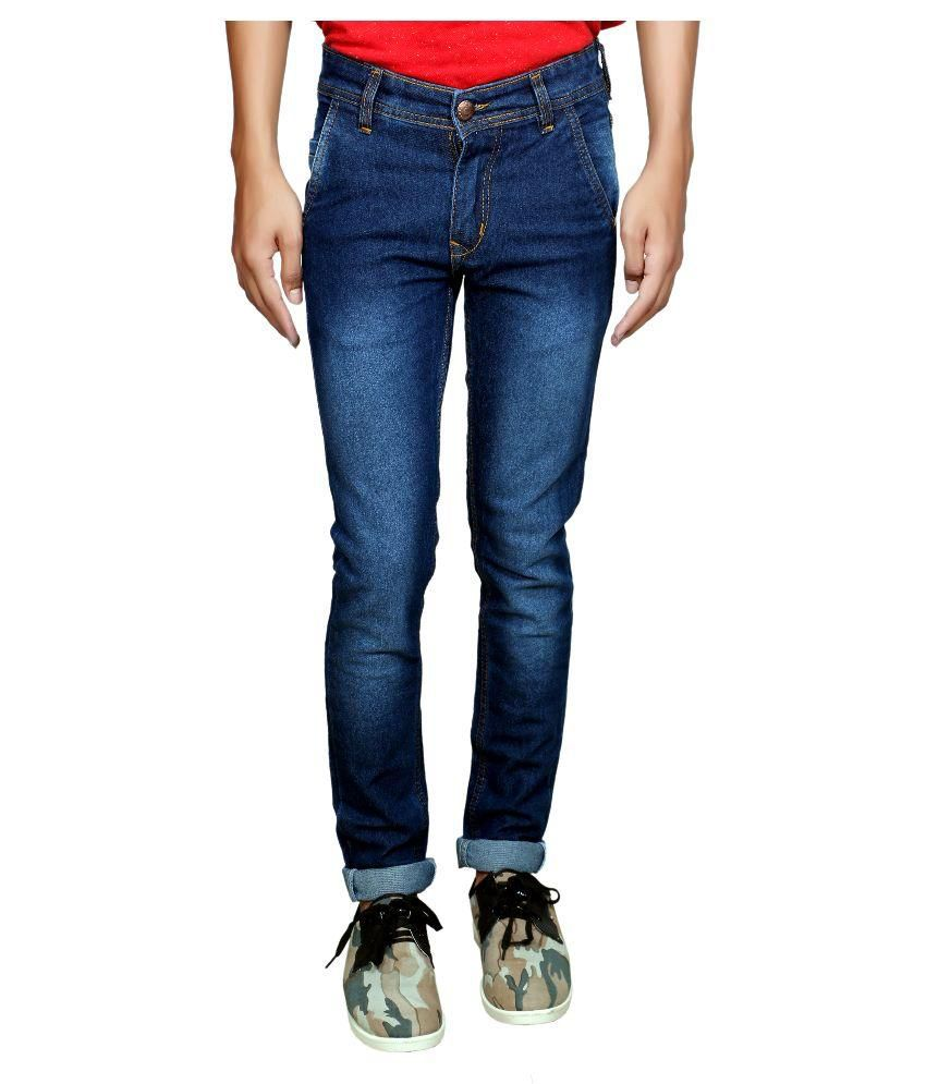 Fashion Blue Slim Fit Washed Jeans