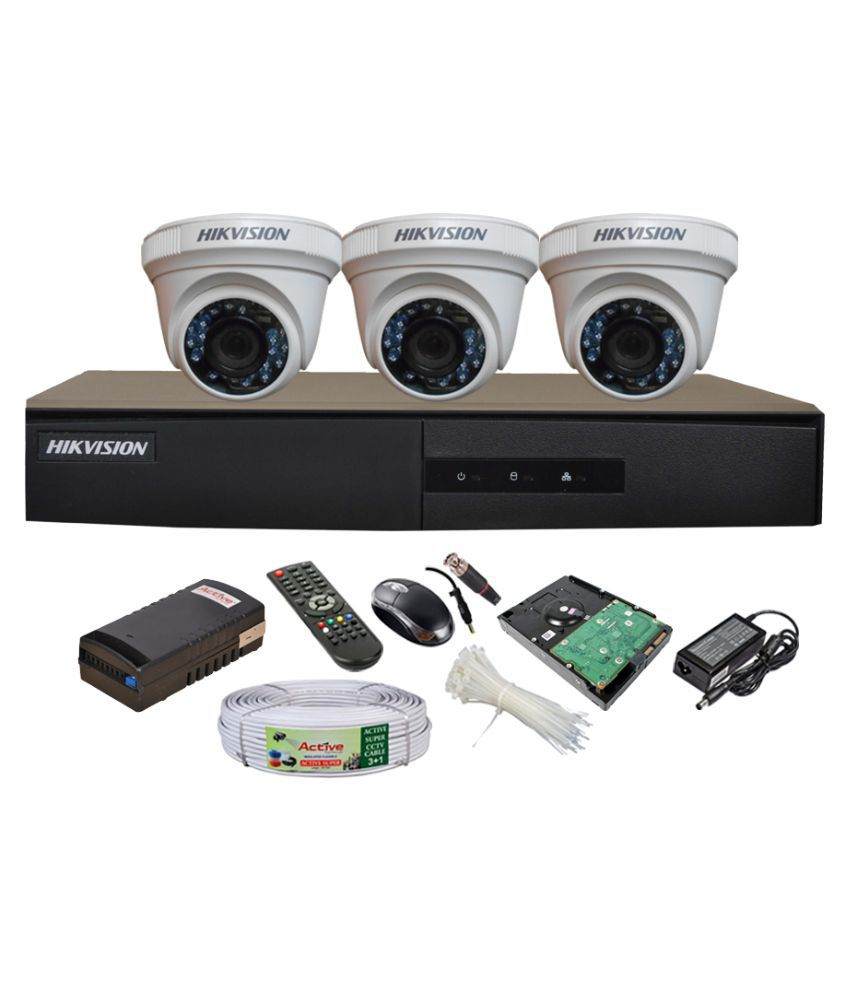 Hikvision-DS-7204HGHI-E1-4CH-Dvr,-3(DS-2CE56COT-IR)-Dome-Camera-(With-Mouse,-Remote,-1TB-HDD,Cable,-Bnc&Dc-Connectors,Power-Supply)