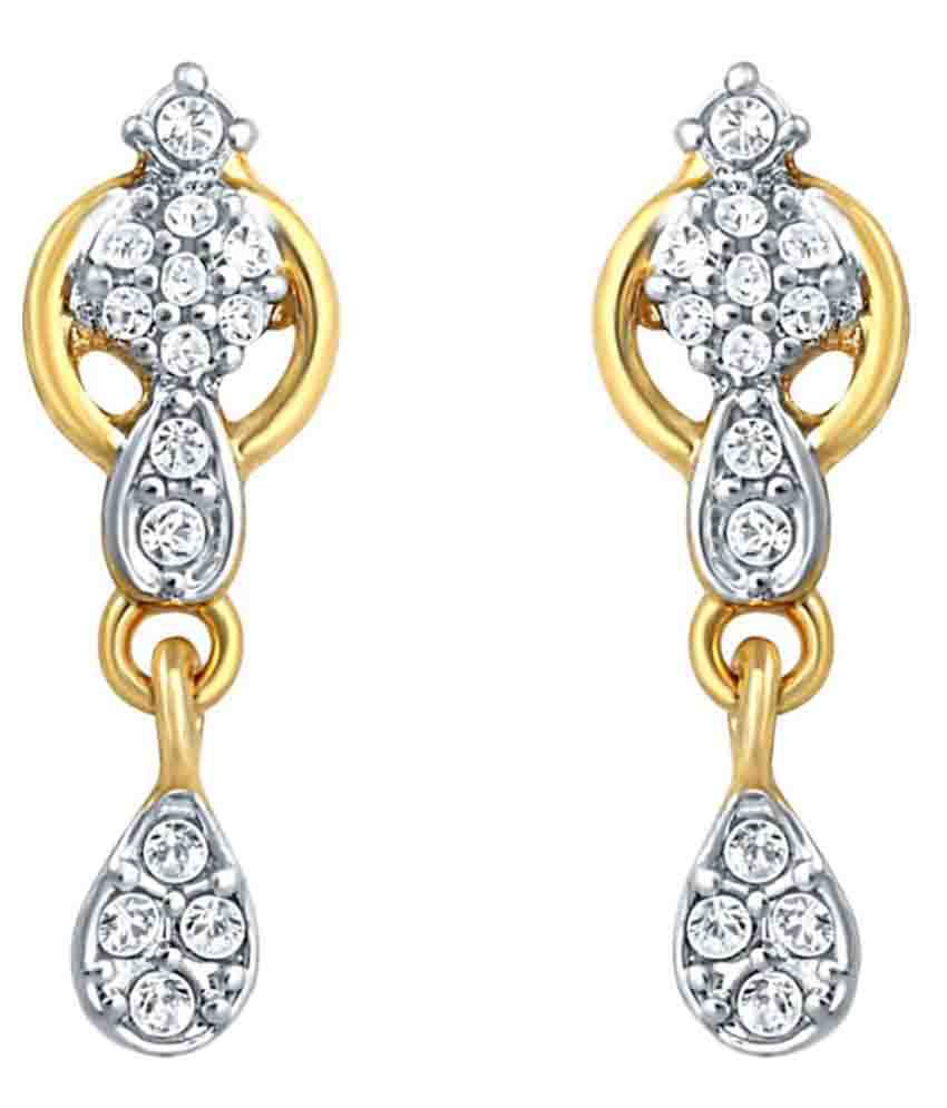 Mahi Brass Gold Plating Cubiz Zirconia Studded Gold Coloured Earrings