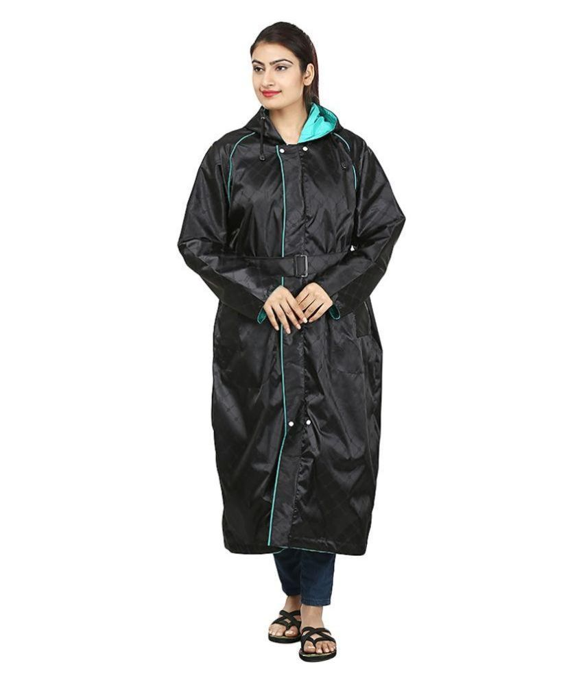 Rainfun Black Polyester Long Raincoat