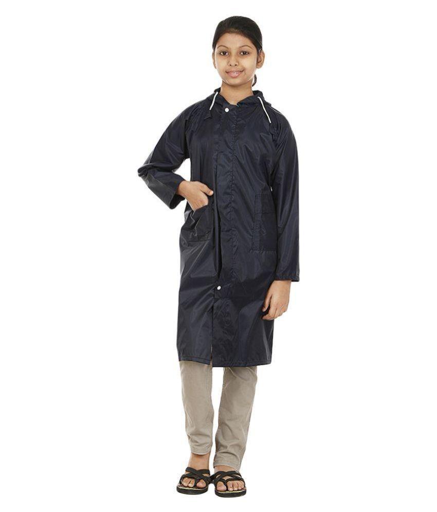 Rainfun Black Waterproof Long Raincoat