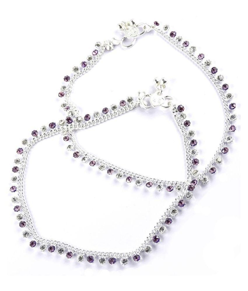 Fluck Alloy Silver Plating Crystal Studded Silver Coloured Pair Of Anklets