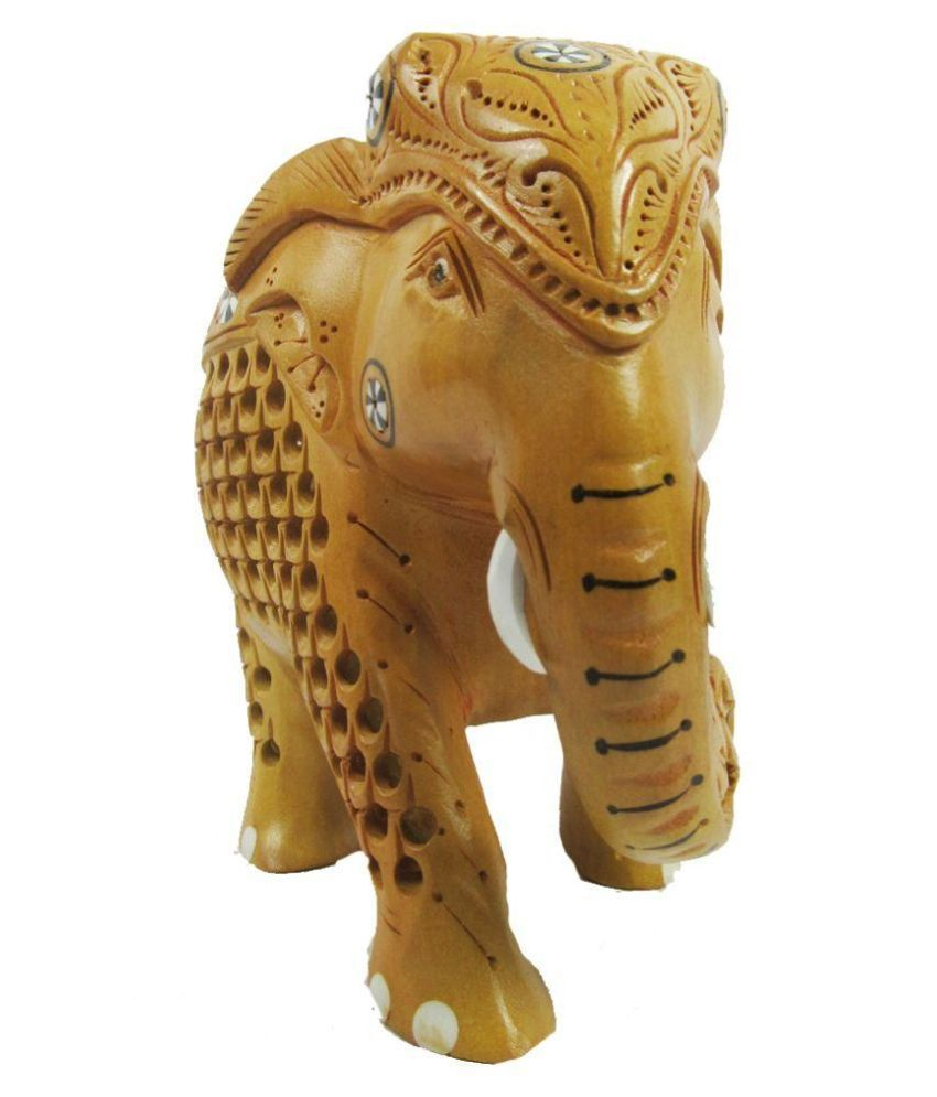 Indian Arts Museum Brown Wooden Handicraft Elephant